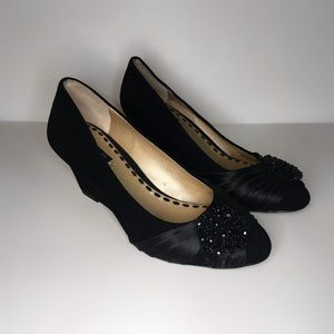 145f7f02d56 Alex Marie black suede beaded wedges size 6
